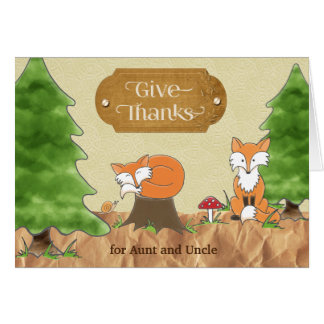 Thanksgiving Aunt Uncle Scrapbook-look Woods Foxes Card