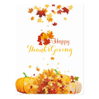 Thanksgiving Autumn Falling Leaves and Pumpkins Postcard