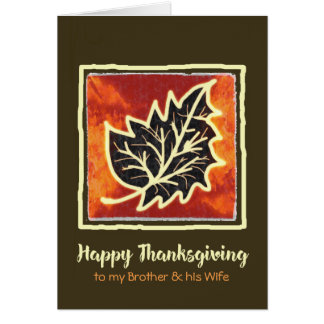 Thanksgiving Autumn Leaf Card for Brother & Wife