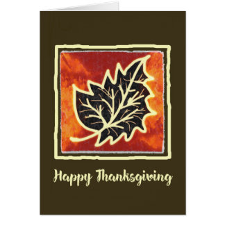 Thanksgiving Autumn Leaf Painting Card