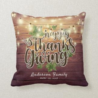 Thanksgiving Autumn Leaves Pumpkins String Lights Cushion