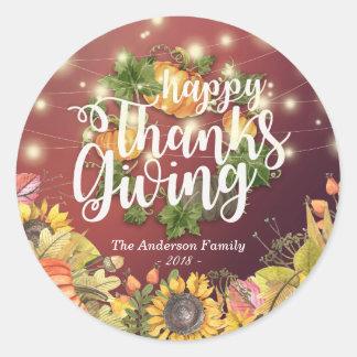 Thanksgiving Autumn Maple Leaves Pumpkin Sunflower Classic Round Sticker