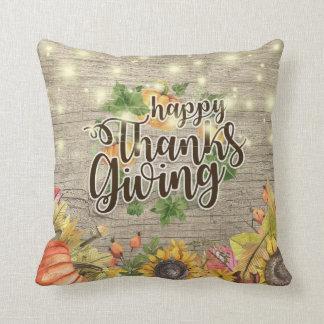 Thanksgiving Autumn Maple Leaves Pumpkin Sunflower Cushion