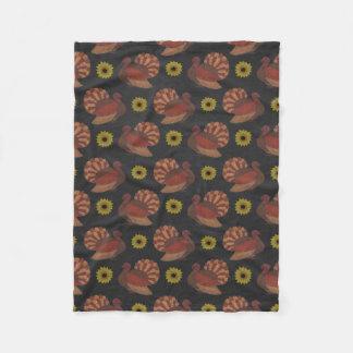 Thanksgiving Autumn Turkey Chalkboard Pattern Fleece Blanket