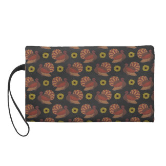 Thanksgiving Autumn Turkey Chalkboard Pattern Wristlet