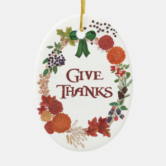 Thanksgiving Autumn Wreath to Customise Ceramic Ornament