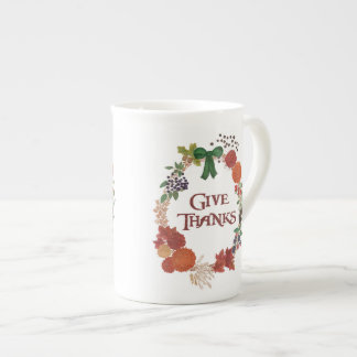 Thanksgiving Autumn Wreath to Customize Tea Cup