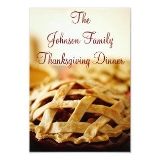 "Thanksgiving Baked Pie Holiday Invitations 3.5"" X 5"" Invitation Card"