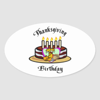 Thanksgiving Birthday Oval Sticker