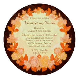 Thanksgiving Bounty Wreath Dinner Party Invitation