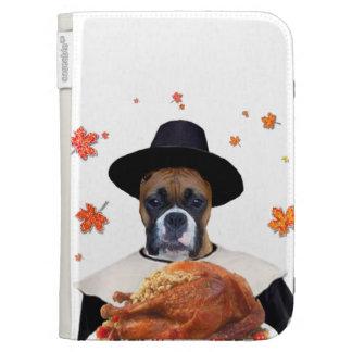 Thanksgiving Boxer dog Kindle Folio Case