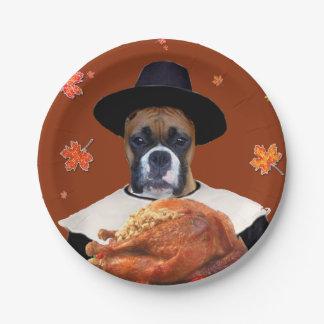 Thanksgiving boxer dog paper plates