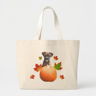 Thanksgiving boxer puppy tote bag