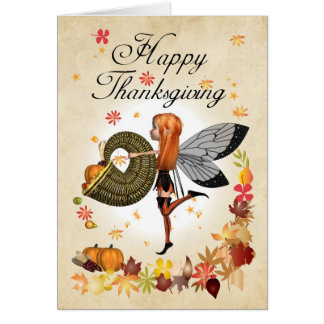 Thanksgiving Card - Cute Little Pumpkin Fairy