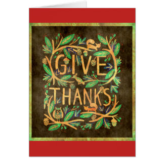 """Thanksgiving Card """"Give Thanks"""" Blessings Brocade"""