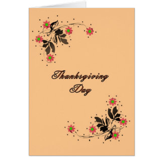 Thanksgiving Card, Lt. Orange with Swirly Flowers Card