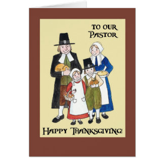 Thanksgiving Card with Pilgrims for a Pastor
