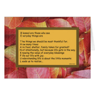 Thanksgiving Cards -- Be Thankful Poem