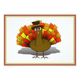 Thanksgiving Cartoon Turkey Pilgrim 13 Cm X 18 Cm Invitation Card