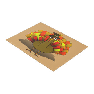 Thanksgiving Cartoon Turkey Pilgrim Doormat