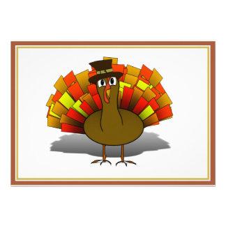 Thanksgiving Cartoon Turkey Pilgrim Personalized Announcements