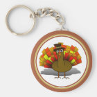 Thanksgiving Cartoon Turkey Pilgrim Key Ring