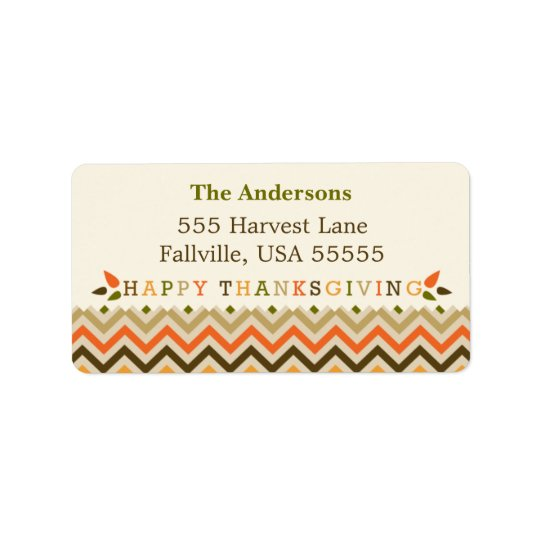 Thanksgiving Chevron Address Labels