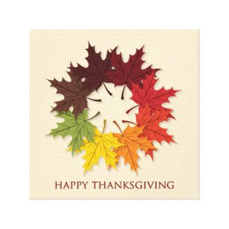 Thanksgiving circle of leaves canvas print