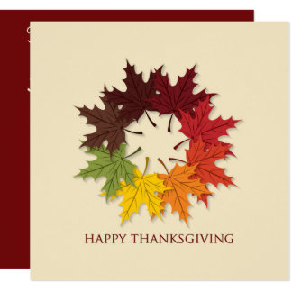 Thanksgiving circle of leaves card