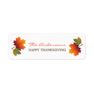 Thanksgiving Colorful Fall Leaves Gift Labels
