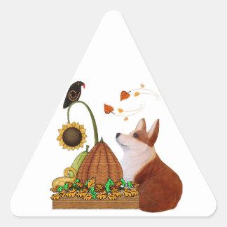 Thanksgiving Corgi Triangle Sticker