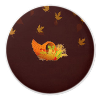 Thanksgiving Cornucopia Ceramic Knob