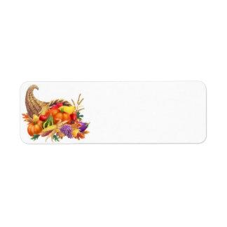 Thanksgiving Cornucopia Label Return Address Label
