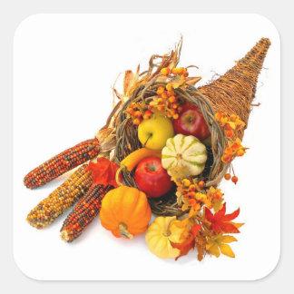 Thanksgiving Cornucopia Square Stickers