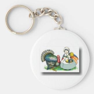 Thanksgiving day 3 basic round button key ring