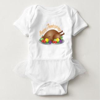 Thanksgiving Day Baked Turkey Dinner Illustration Baby Bodysuit