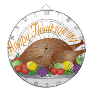 Thanksgiving Day Baked Turkey Dinner Illustration Dartboard