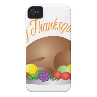 Thanksgiving Day Baked Turkey Dinner Illustration iPhone 4 Cover