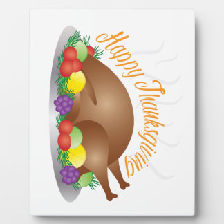 Thanksgiving Day Baked Turkey Dinner Illustration Plaque