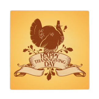 Thanksgiving Day Design With Turkey And Ribbon Maple Wood Coaster