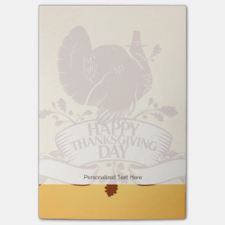 Thanksgiving Day Design With Turkey And Ribbon Post-it® Notes