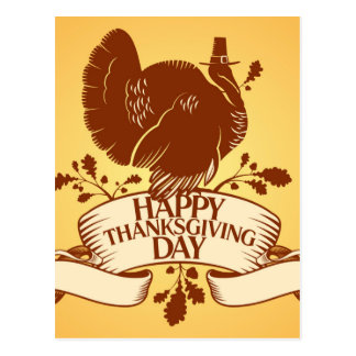 Thanksgiving Day Design With Turkey And Ribbon Postcard