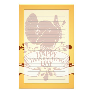 Thanksgiving Day Design With Turkey And Ribbon Stationery Paper