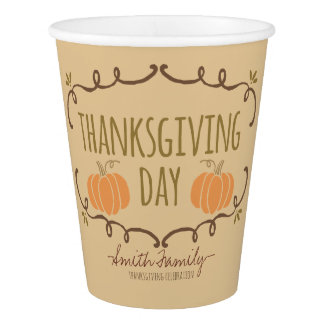 Thanksgiving Day. Family Thanksgiving Celebration. Paper Cup