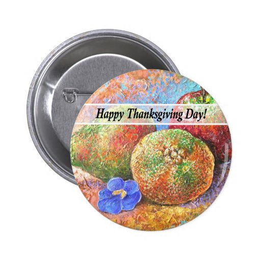Thanksgiving Day Fruits & Flowers Art - Multi Buttons