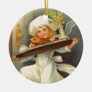 Thanksgiving Day Girl Chef Vintage Ornament