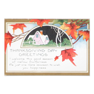 Thanksgiving Day Greetings Pink House Photo Art