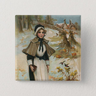 Thanksgiving Day Greetings with a Pilgrim Woman 15 Cm Square Badge