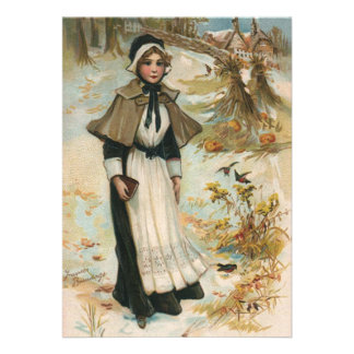 Thanksgiving Day Greetings with a Pilgrim Woman Custom Announcement