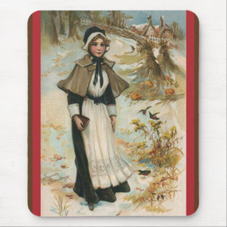 Thanksgiving Day Greetings with a Pilgrim Woman Mouse Pad